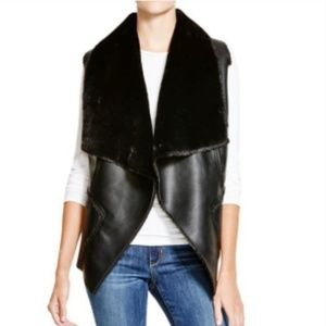 Blank NYC Womens Faux Leather Winter Vest Black